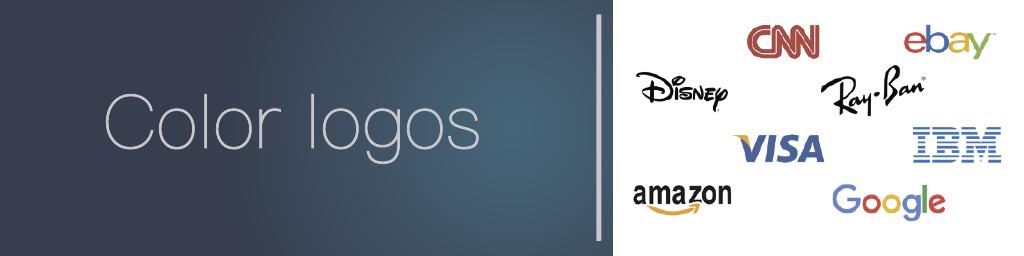 Color logos examples: ebay, amazon, visa, IBM, Google like a logo trend